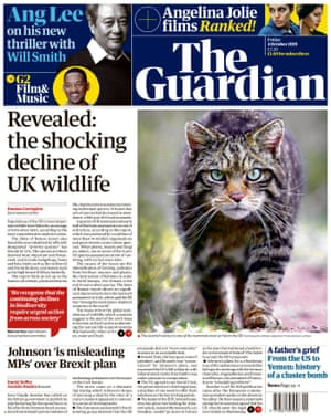 Guardian front page, Friday 4 October 2019