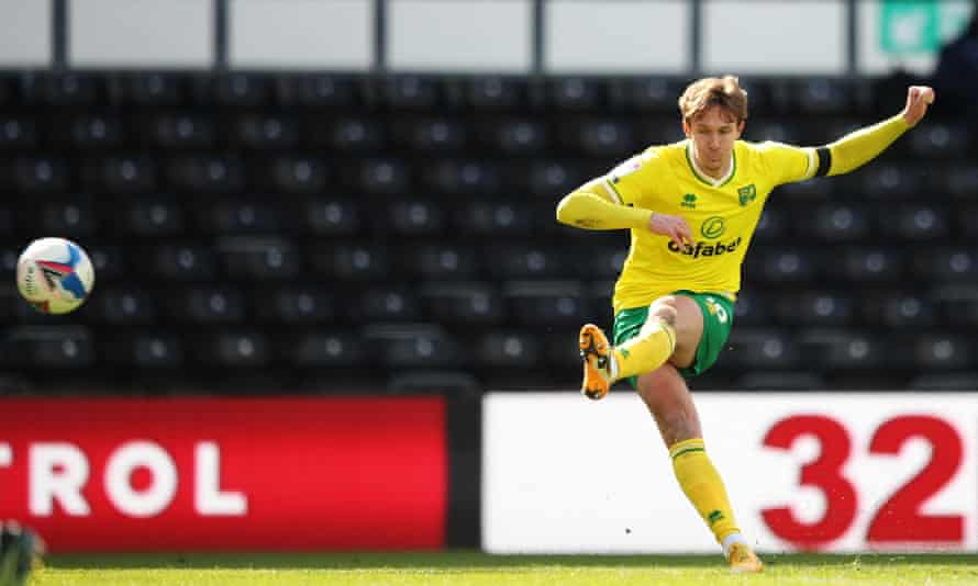 Kieran Dowell watches his free-kick on its way to the Derby net for Norwich's winner