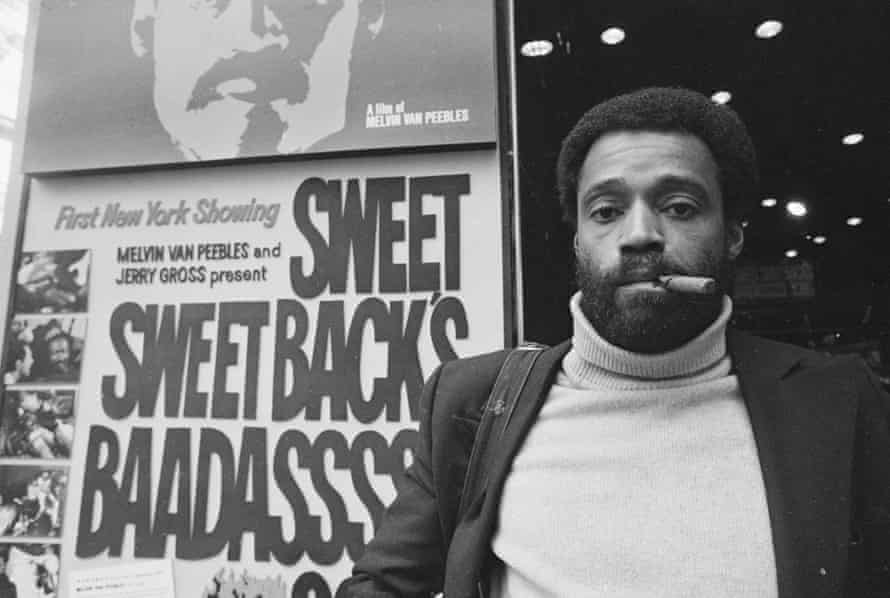 Melvin Van Peebles in New York City, 1971, posing outside a cinema which is showing his action thriller Sweet Sweetback's Baadasssss Song.