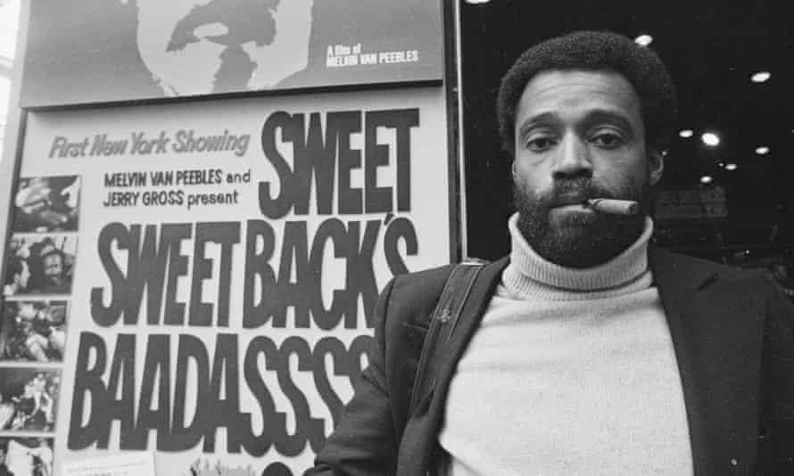 Melvin Van Peebles in New York City, 1971, outside a cinema showing his hugely successful film Sweet Sweetback's Baadasssss Song.