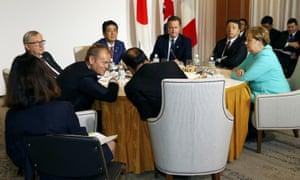 G7 leaders attend the Japan EU EPA/FTA meeting