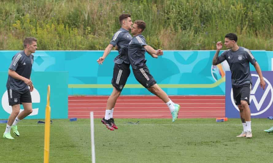 Matthias Ginter, Florian Neuhaus, Joshua Kimmich and Robin Koch during Germany training on Tuesday.