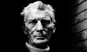 Samuel Beckett leaving the Royal Court Theatre, London in 1976.