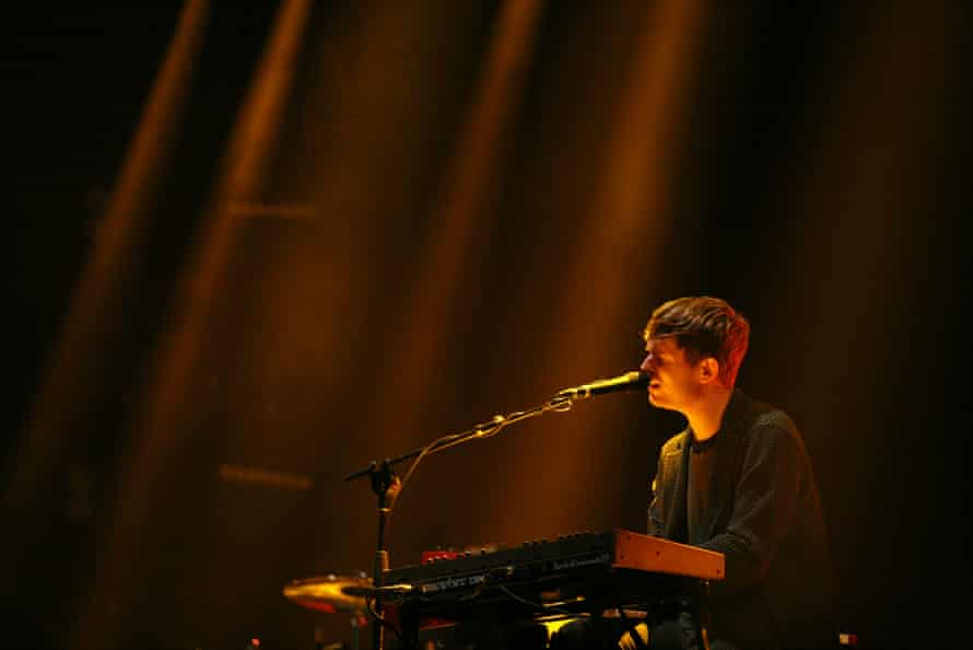 James Blake performing on the West Holts stage during Glastonbury 2016.