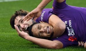 Fiorentina's Luis Muriel is congratulated after scoring in their game against Sampdoria.