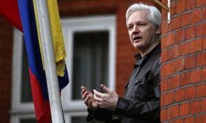 Julian Assange on the balcony of the Ecuadorian embassy on 19 May 2017.