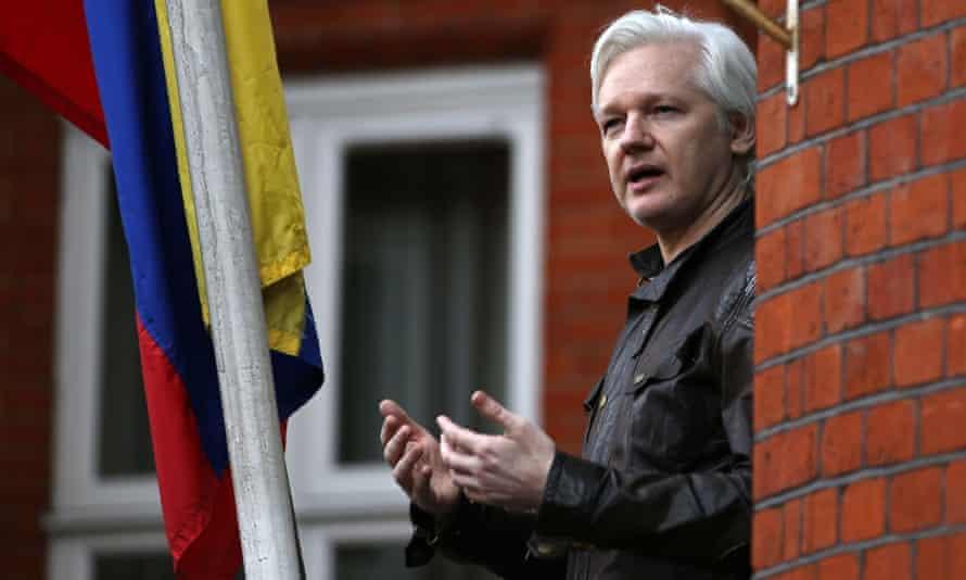 Julian Assange speaks on the balcony of the embassy of Ecuador in London