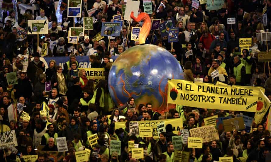 Climate protesters in Madrid during the Cop25 summit in December