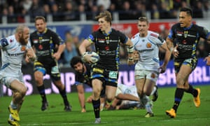 David Strettle shows off his breathtaking speed during Clermont Auvergne's comprehensive victory over Exeter.