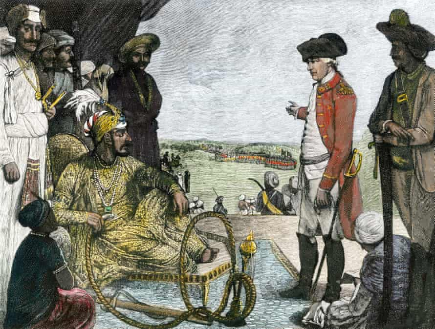 Shah Allum, Mogul of Hindostan, Reviewing Troops of the British East India Company – illustration from 1781.