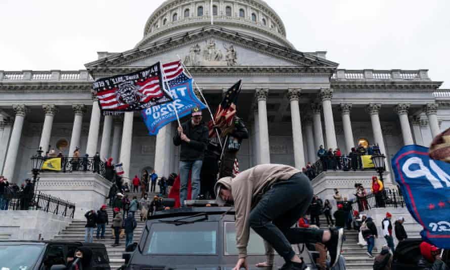 Supporters of Donald Trump during the deadly siege on the Capitol building, which left five dead and the building smashed and looted.