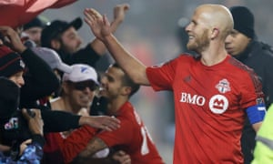 Michael Bradley celebrates with Toronto FC fans after their victory over Philadelphia Union