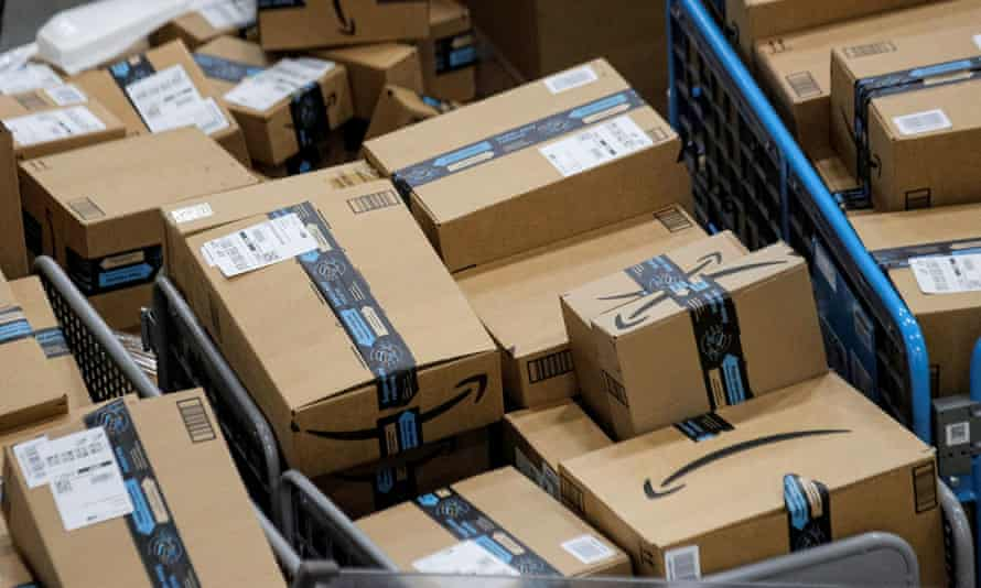 Packages at Amazon's JFK8 distribution center in Staten Island, New York City.