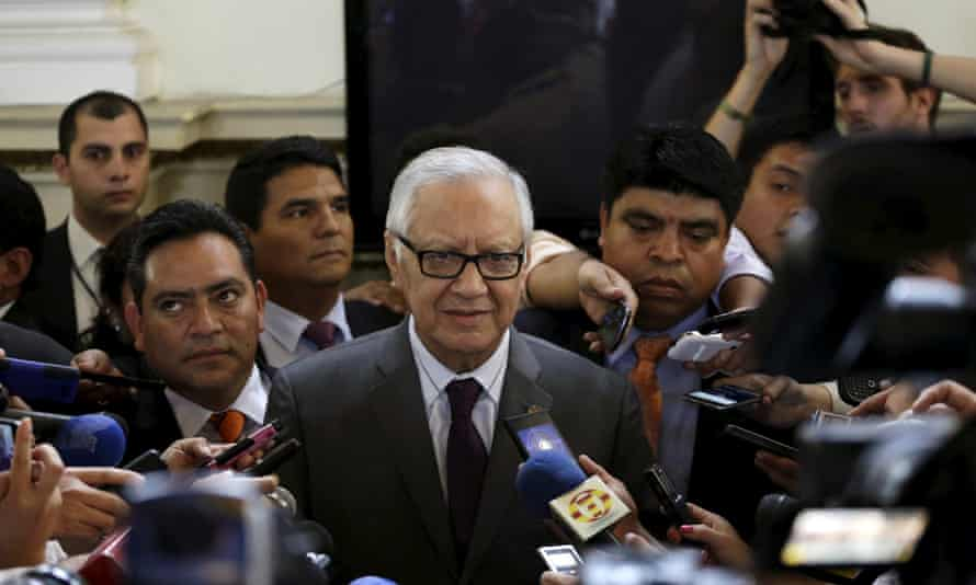 Alejandro Maldonado is surrounded by the media after being sworn in as Guatemala's vice-president in Guatemala City on Thursday.