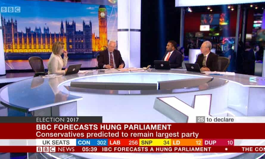 David Dimbleby leads the BBC's coverage of election night last year.