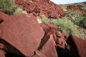 Rock engravings at Burrup Peninsula in Western Australia, Australia. The collection of petroglyphs is the oldest and largest in Australia.