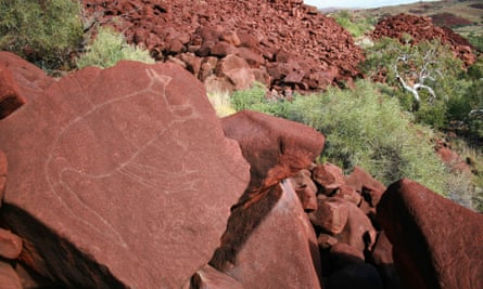 Rock engravings at Burrup Peninsula in Western Australia part part of the Murujuga cultural landscape and the country's largest collection of rock art.