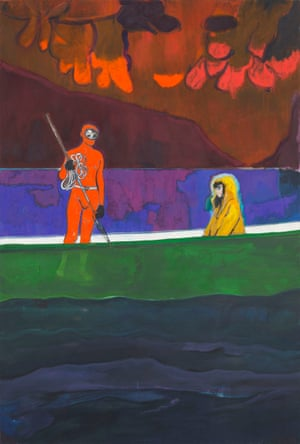 Spearfisher (Red Moon) by Peter Doig, 2019. Oil on linen 116 1/4 x 78 3/4 inches 295 x 200