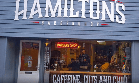 The outside of Hamilton's barber shop