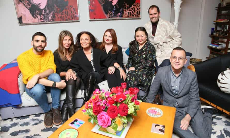 Hanya Yanagihara with Diane von Furstenberg and fellow editors.