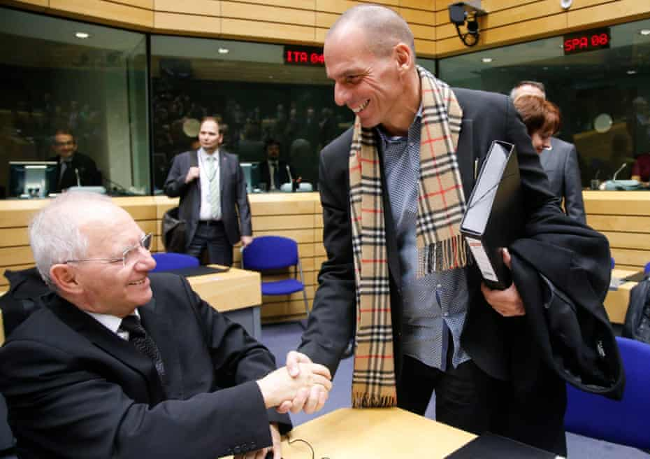 Wolfgang Schäuble and Yanis Varoufakis before a finance ministers' meeting in Brussels in 2015