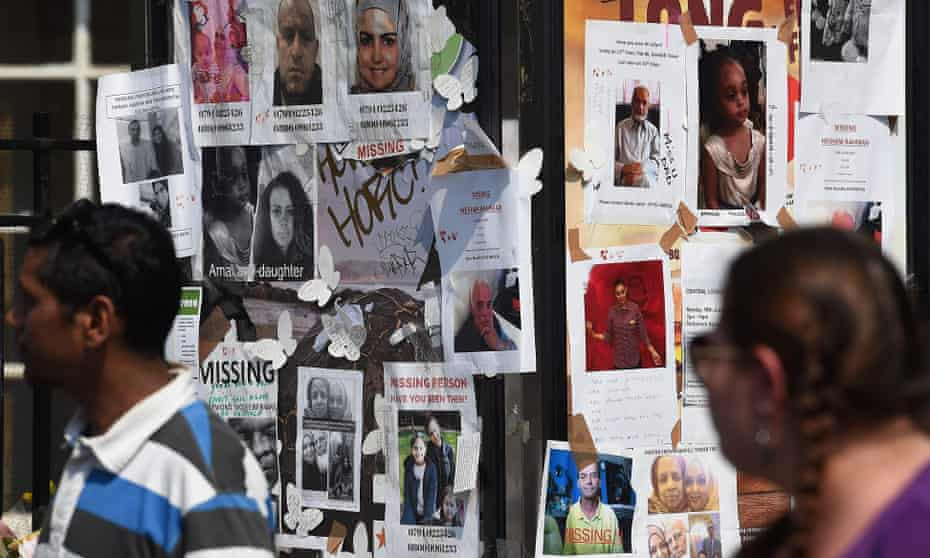 Posters showing images of missing people after the Grenfell Tower fire