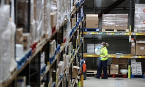 The NHS's national procurement warehouse at Larkhall in Lancashire, as deliveries of personal protective equipment are increased.