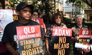 Wangan and Jagalingou people protest outside Queensland parliament in March 2015.