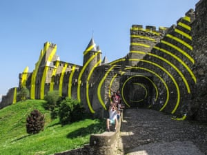 Concentric circles created by Swiss artist Felice Varini in Carcassonne, France