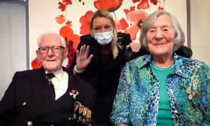 Veterans Charles Ward and Jean Hull, alongside Susan Barnes, from Mais House, a Royal British Legion Care Home in Bexhill-on-Sea, East Sussex.