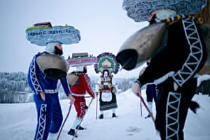 Appenzell Ausserrhoden, Switzerland: People participate in a procession to offer their best wishes for the new year. Silvesterchlausen is marked twice, once on 31 December, based on the Gregorian calendar, and again on 13 Jan, based on the Julian calendar