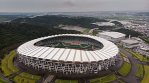 RUGBYU-WC-2019-STADIUMThis aerial view taken on September 14, 2018 shows the Ogasayama Sports Park Ecopa Stadium, one of the venues for 2019 Rugby World Cup, in Shizuoka. (Photo by Martin BUREAU / AFP) (Photo credit should read MARTIN BUREAU/AFP/Getty Images)