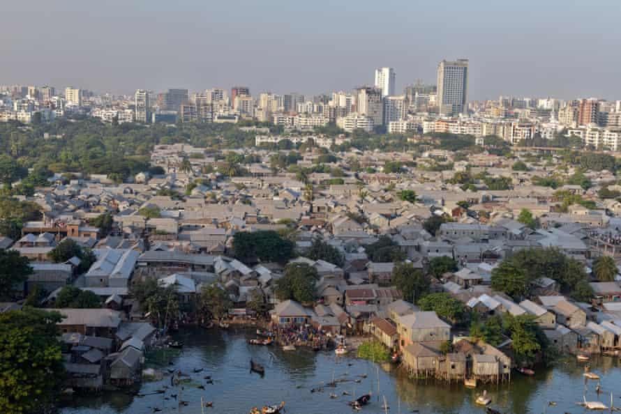 A view of Korail slum beside the Banani Lake in Dhaka.