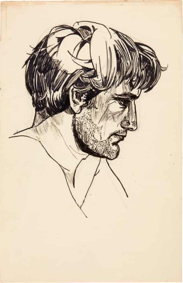 Portrait of Ted Hughes by Sylvia Plath.