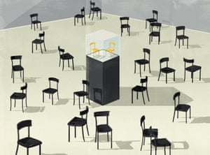 Illustration of two yellow chairs on a plinth surrounded by black chairs
