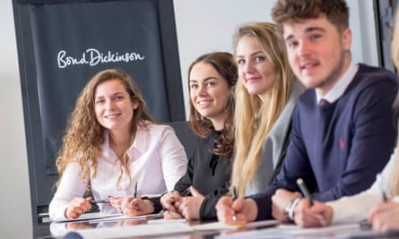 Apprentices at Bond Dickinson LLP. The law firm says it was impressed by the quality of candidates.