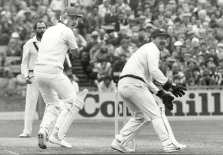 England's Chris Tavaré knocks a shot past Australian wicketkeeper Rodney Marsh at Old Trafford during the Fifth Ashes Test in August 1981.