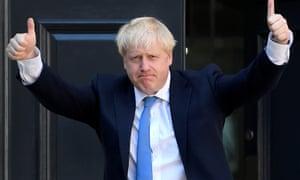 Boris Johnson celebrates victory in the Tory leadership election