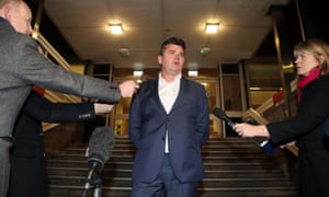 Former BHS owner Dominic Chappell speaks to the media outside Brighton Magistrates' Court.