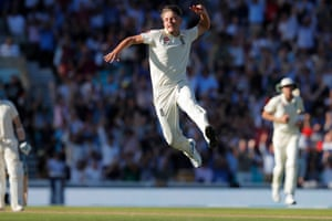 Sam Curran of England celebrates taking the wicket of Tim Paine.