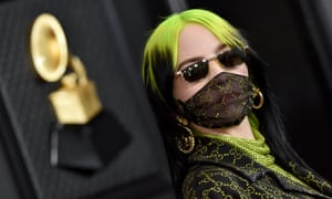 Billie Eilish wearing a mask at the Grammys in January
