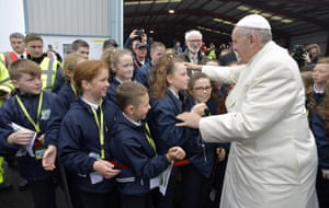 Pope Francis greets schoolchildren at Knock airport