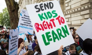 Special needs education campaigners at a demonstration outside Downing Street