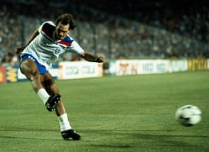 Ray Wilkins plays for England against Spain during the 1982 World Cup.