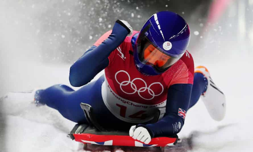 Lizzy Yarnold finishes her final run in the women's skeleton at the Pyeongchang Winter Olympic Games.