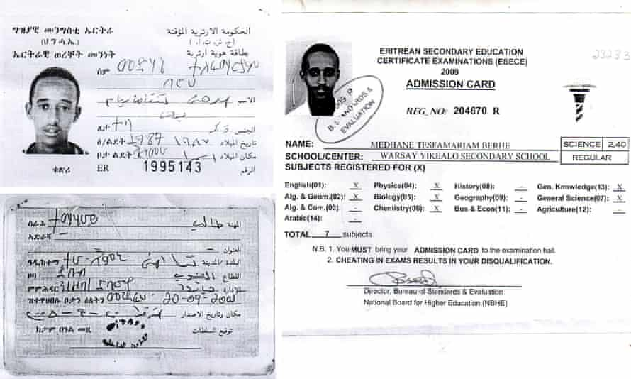 Medhane Tesfamariam Berhe's ID card. The arrested 'people smuggler' says he is a victim of mistaken identity in a potential embarrassment for Italian and British police.