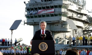 George W Bush declares the end of major combat in Iraq in 2003, off the coast of California.