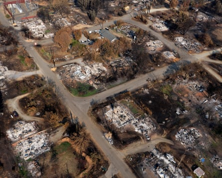 Houses reduced to ash by the fire that devastated Shasta county in northern California – about 36,000 inhabitants were evacuated.
