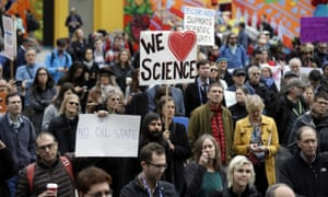 Scientists protest attacks by the incoming Trump administration against scientists advocating for the issue of climate change.