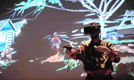 Artist Sutu performs Inside a Mind at War at 2017's Sundance New Frontier.